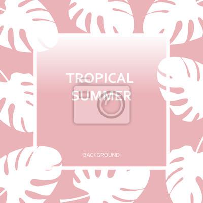 """Poster Tropischer Hintergrund whith Text """"Tropischer Sommer"""" auf rosa Hintergrund der Palmen monstera Blätter. Modernes und stilvolles Typografieentwurfsplakat."""