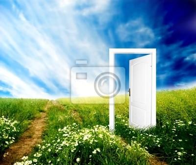 Tür zur neuen Welt. Bunte, helle, große Qualität.