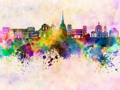 Turin skyline in watercolor background