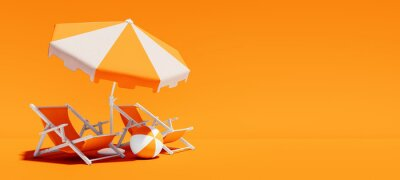 Poster Two beach chairs with parasol on lush orange summer background 3D Rendering