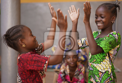 Poster Two Little African Girls Performing A Hand Clapping Game