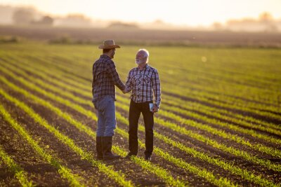 Poster Two men shaking hands in corn field reaching agreement.