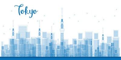 Poster Überblick Tokyo City Wolkenkratzer in der blauen Farbe.
