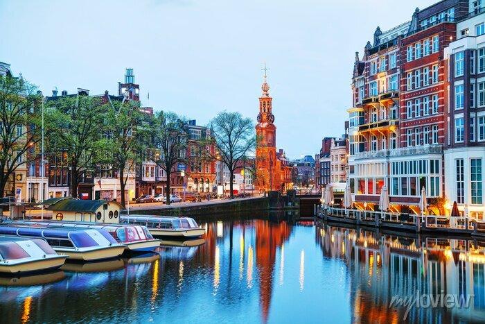 Poster Überblick über Amsterdam mit Munttoren