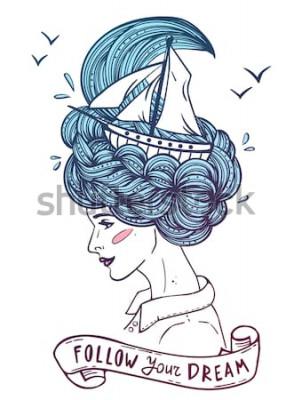 Poster Übergeben Sie gezogenes Farbporträt einer träumenden jungen Schönheit mit Schiff in den Wellen des gelockten Meer ähnlichen Haares. Tätowierung, zentangle, Mode, Marine, Postkarte, Vintages Band mit &