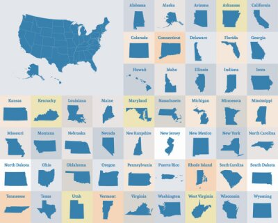 Poster Übersichtskarte der Vereinigten Staaten von Amerika. Staaten der USA. Vektor.