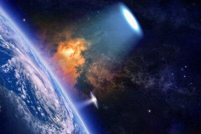 Poster Ufo erforscht den Planeten Erde