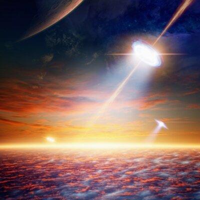 Poster UFO im Himmel