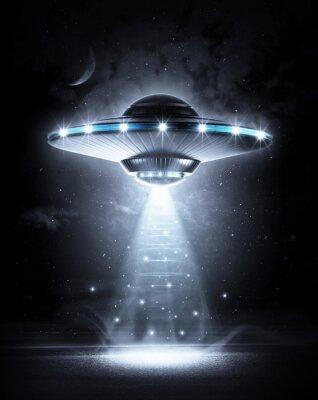 Poster UFO in der dunklen Nacht
