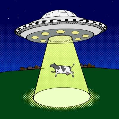 Poster Ufo nimmt Kuhpopkunstartvektor