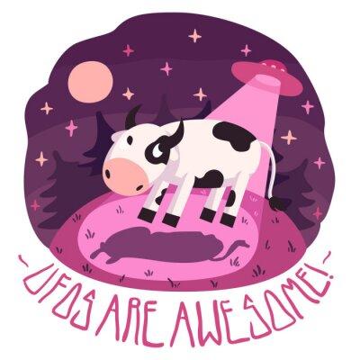 Poster UFOs sind genial! Vektor-Poster (Hintergrund und Karte) mit Kuh auf dem Hügel und UFO in der Nacht mit Vollmond und Sterne (Cartoon-Stil)