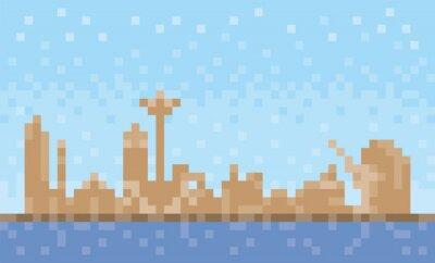 Umm al-Quwain city skyline, pixel art background