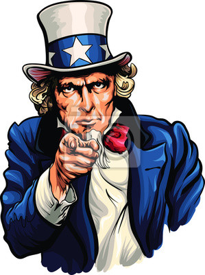 Poster Uncle Sam vector illustration with pointing hand.