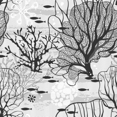 Poster Unterwasserwelt. Nahtlose Vektor-Muster mit Meerespflanzen und Fischen
