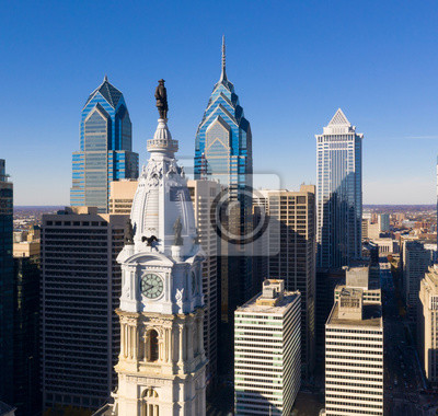 Poster Urban Core City Center Tall Buildings Downtown Philadelphia Pennsylvania