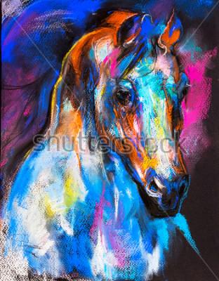 Poster Ursprüngliche Pastellmalerei eines Pferdes auf einer Pappe. Moderne Kunst.