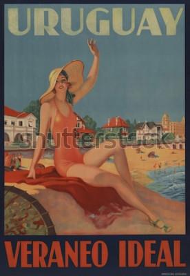Poster Uruguay, Veraneo Ideal. 1930er Jahre Reiseplakat zeigt eine Badeschönheit am Strand.
