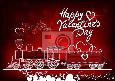Poster Valentinstag-Grußkarte, mit Herzen Volldampf-Lokomotive