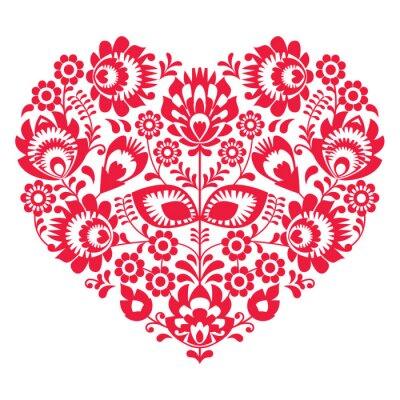 Poster Valentinstag Volkskunst rotes Herz - Polnisch Muster