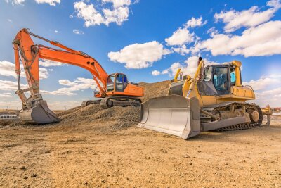 Poster Various machinery and equipment for road construction or civil engineering