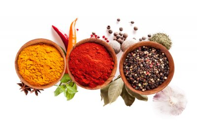 Poster Various spices isolated on white background