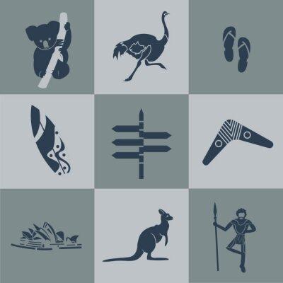 Poster Vector australia Flach reisen schwarz