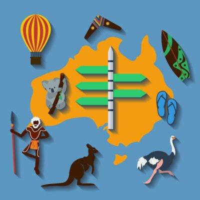 Poster Vector australia travel flat color