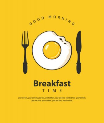Poster Vector banner on the theme of Breakfast time with fried egg, fork and knife on the yellow background with place for text in retro style