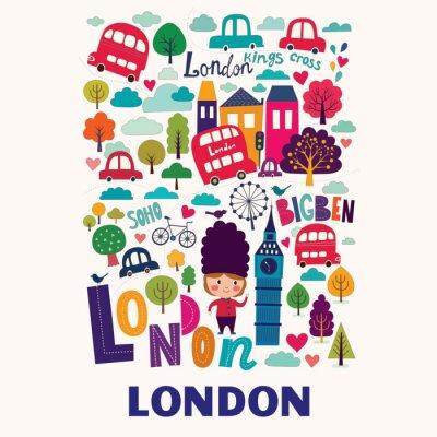 Poster Vector bunte Muster mit Symbolen London