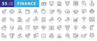Poster Vector business and finance editable stroke line icon set with money, bank, check, law, auction, exchance, payment, wallet, deposit, piggy, calculator, web and more isolated outline thin symbol