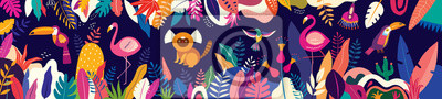 Poster Vector colorful illustration with tropical flowers, leaves, monkey, flamingo and birds. Brazil tropical pattern.