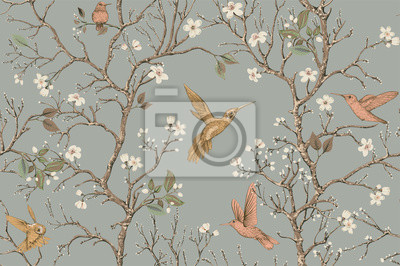 Poster Vector colorful pattern with birds and flowers. Hummingbirds and flowers, retro style, floral backdrop. Spring, summer flower design for web, wrapping paper, cover, textile, fabric, wallpaper