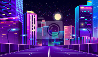 Poster Vector concept background with night city illuminated with neon glowing lights. Futuristic cityscape in blue and violet colors, panorama with modern buildings and skyscrapers, highway