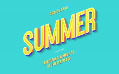 Poster Vector fun summer font 3d bold color style modern typography for decoration, logo, poster, t shirt, book, card, sale banner, printing on fabric, industrial. Cool typeface. Trendy alphabet. 10 eps