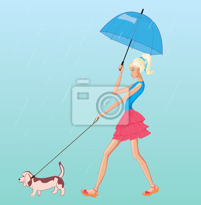 Poster vector girl walk in the rain with dog