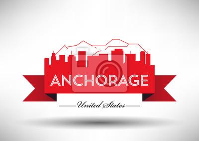 Vector Grafikdesign von Anchorage City Skyline