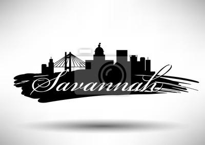 Vector Grafikdesign von Savannah City Skyline