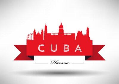 Vector Graphic Design of Cuba Skyline