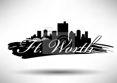 Vector Graphic Design von Ft. Worth Stadt Skyline