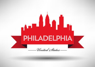 Vector Graphic Design von Philadelphia City Skyline