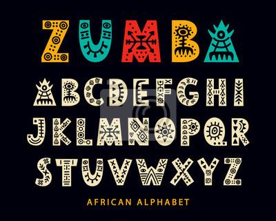 Poster Vector Hand drawn African Tribal Font. Folk Scandinavian Script