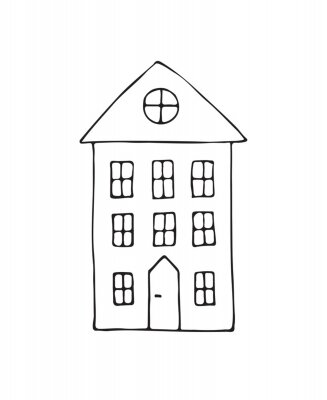 Vector hand drawn doodle sketch Scandinavian city house isolated on white background