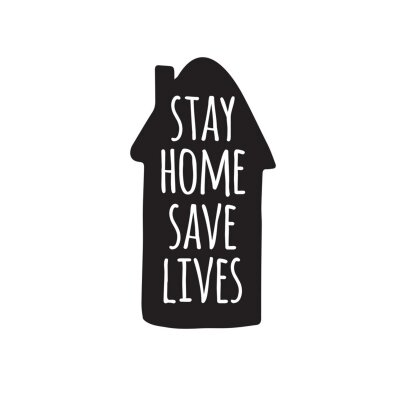 Vector hand drawn doodle sketch stay home save lives lettering in black house silhouette isolated on white background. Coronavirus pandemic self isolation illustration