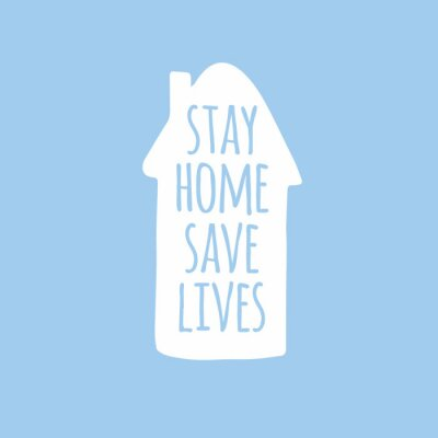 Vector hand drawn doodle sketch stay home save lives lettering in house silhouette isolated on pastel blue background. Coronavirus pandemic self isolation illustration