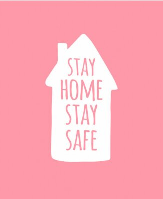 Vector hand drawn doodle sketch stay home stay safe lettering in white house silhouette isolated on pink background. Coronavirus pandemic self isolation illustration