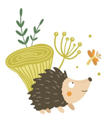 Poster Vector hand drawn flat hedgehog with mushroom and dragonfly clip art. Funny autumn scene with prickly animal having fun. Cute woodland animalistic illustration for children's design, print,