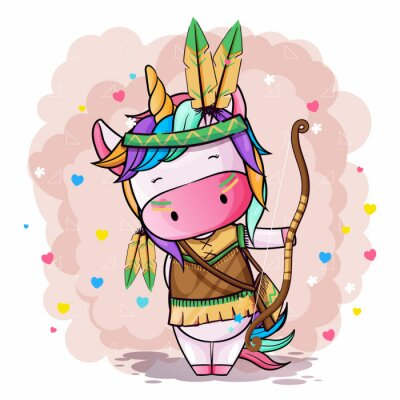 Poster Vector hand drawn illustration of a cute unicorn