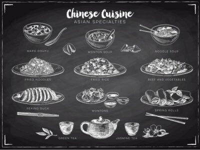Poster Vector Hand gezeichnet Illustration mit chinesischen Essen.