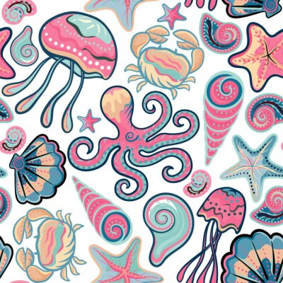 Poster Vector Hand gezeichnet nahtlose Muster mit Quallen, Muscheln, Seesterne, Oktopus und Krabben. Ozean Hintergrund
