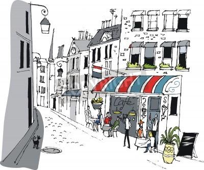 Poster Vector Illustration Café in Paris, Frankreich.